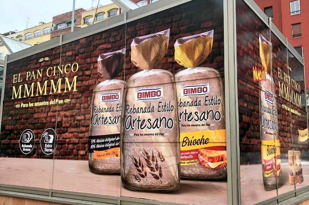 Publicidad de grandes dimensiones en Madrid para Bimbo Rebanada Estilo Artesano