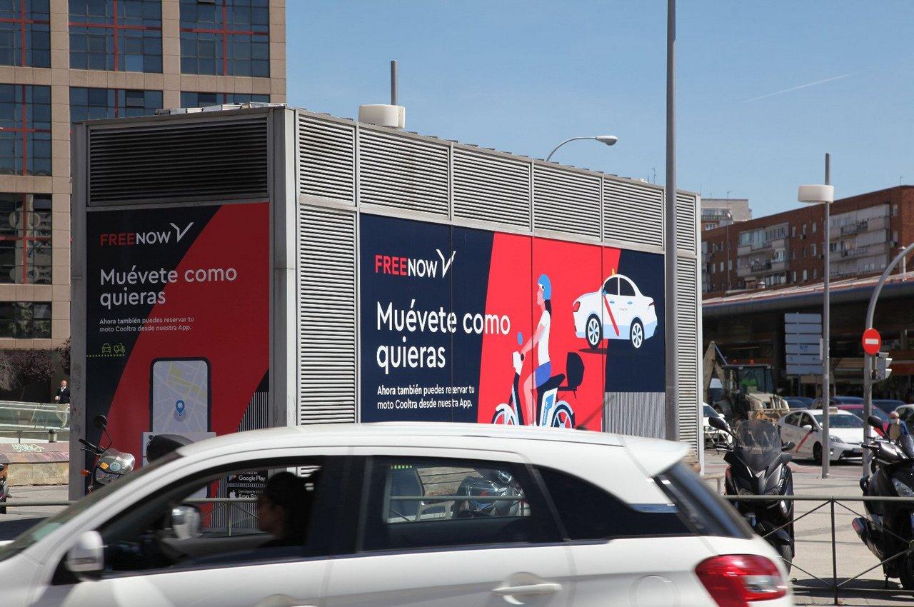 Soportes de publicidad espectacular de gran formato para Free Now en Madrid